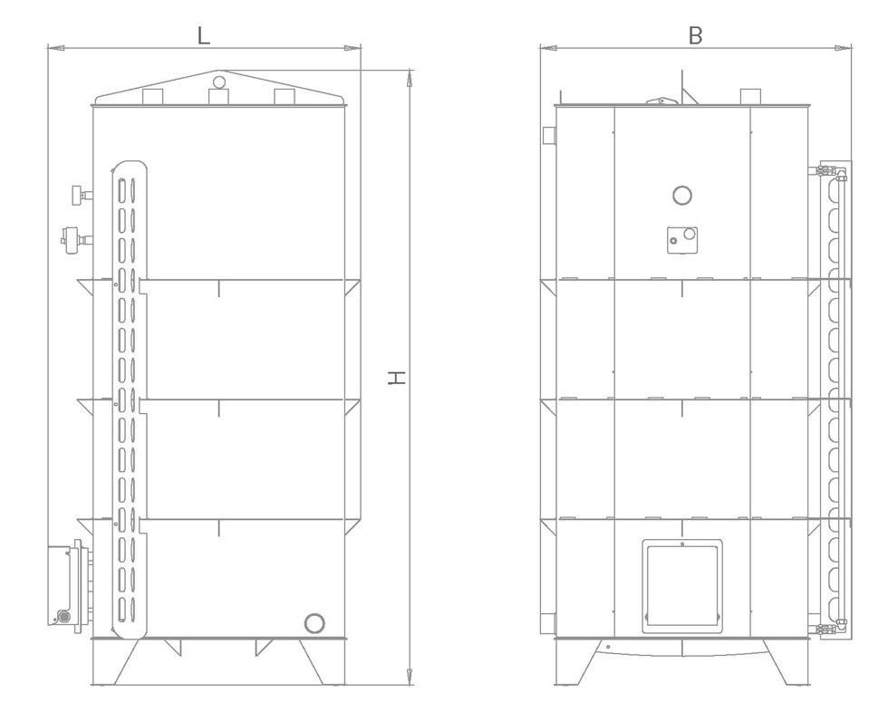 Наливной водонагреватель 1500 литров тип «Квадратный»