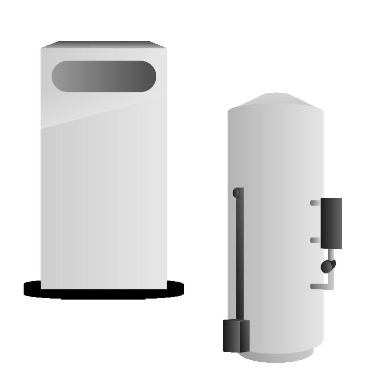 Электрокотел с водонагревателем накопительного типа с внешним пластинчатым теплообменником.